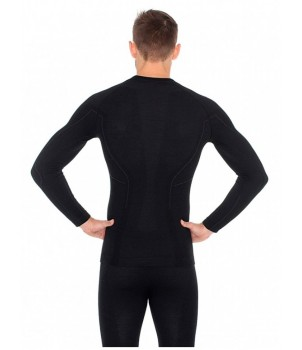 Brubeck Active Wool Футболка мужская с длинным рукавом черная