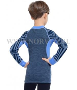 Norveg Climat Control Футболка детская с длинным рукавом (unisex) голубой+чёрный